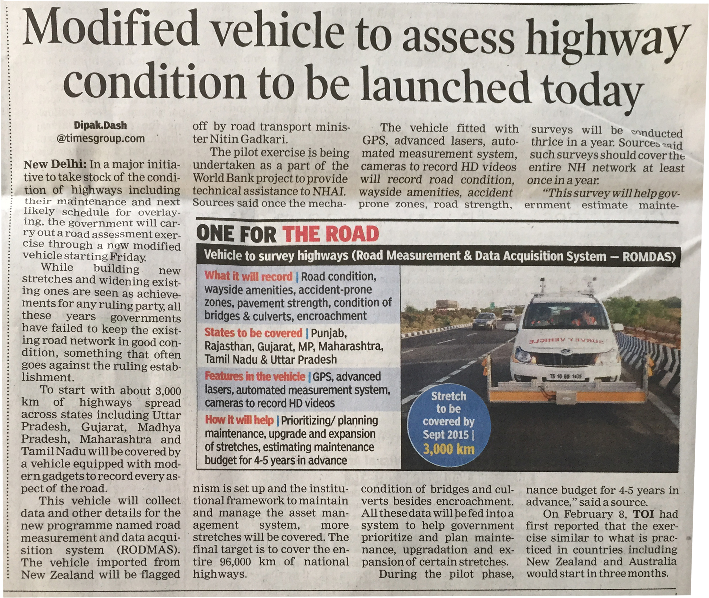 romdas is making news in india | road & pavement condition survey
